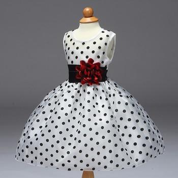 Lasted Baby Girl Dress Design Kids Simple Flower Girl Poka Dot Dress