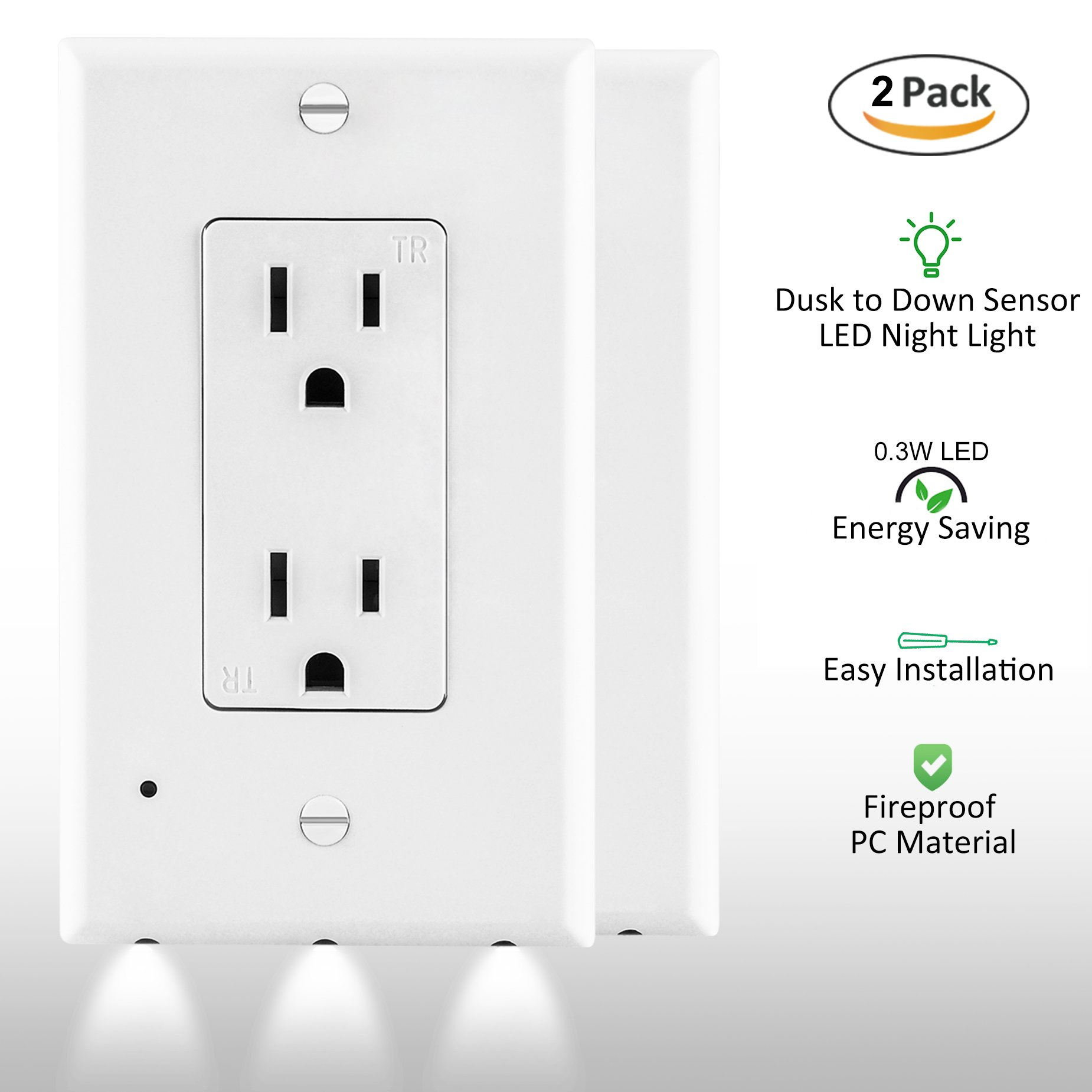ELECTEK Wall Plate Outlet Cover with LED Sensor Night Light for Décor Receptacle, Easy Installation, White, Pack of 2