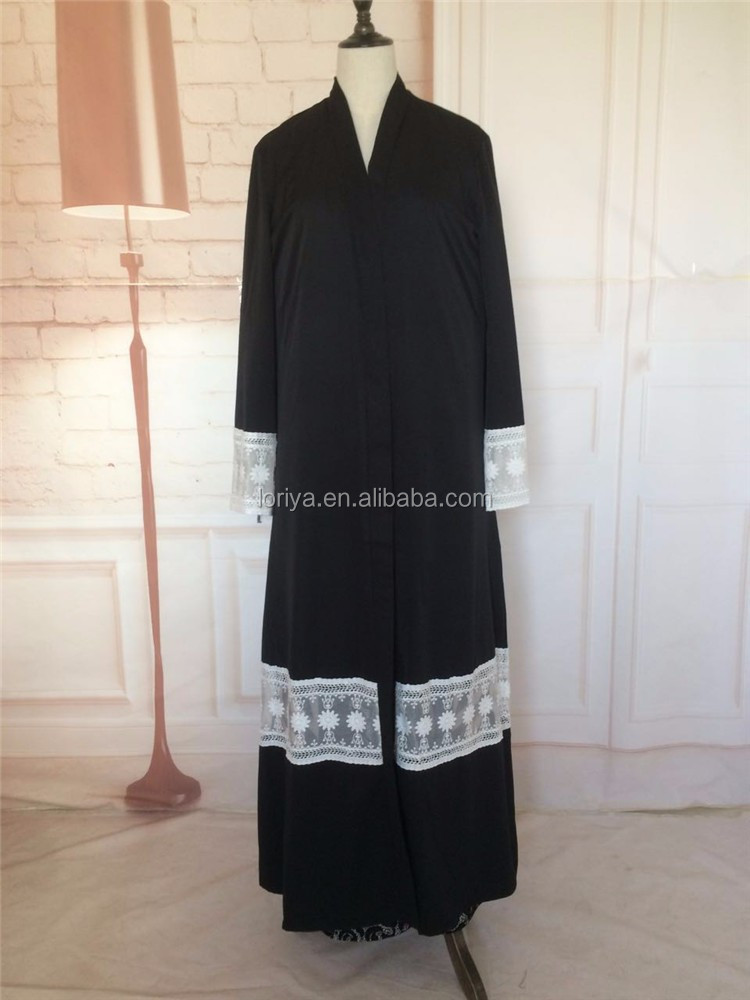 In Stocks Latest women fashion kimono abaya with lace trim elegant design black lace open abaya with belt