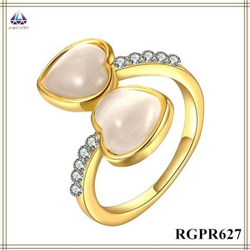 Latest Gold Ring Designs Double Heart Shape Opal For Women Buy