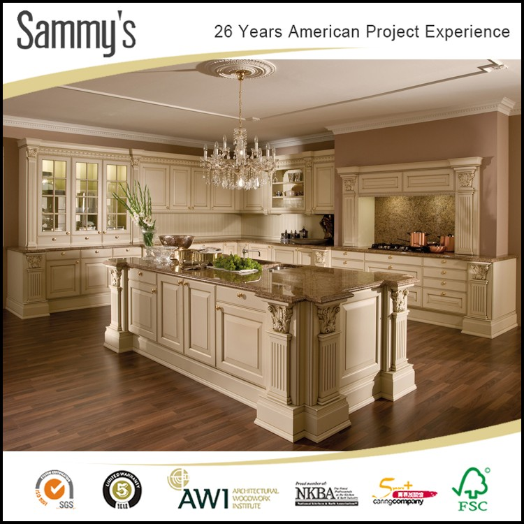 Water Resistant American Cherry Solid Wood Kitchen Cabinet ...