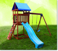 kids outdoor playground for wooden house
