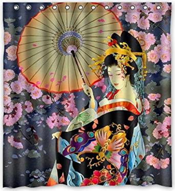 Funny Design Japanese Art Geisha Girl Psychedelic Shower Curtain 66w X 72