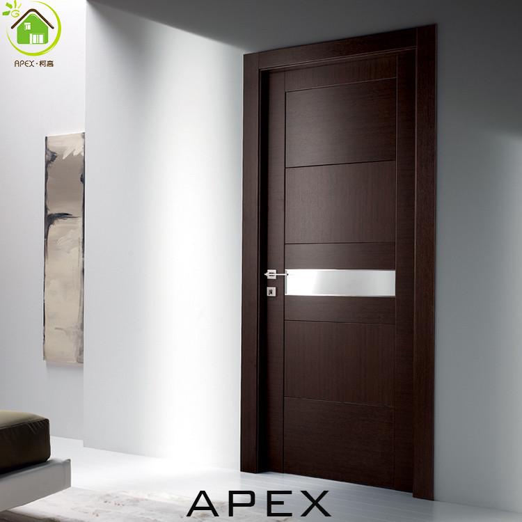Brown Color Wooden Interior Door Glass Door Flush Door Design