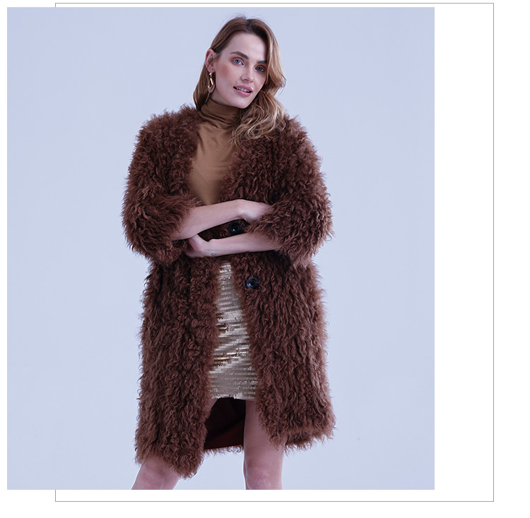 Good quality women mid long knit brown curly sheep fur jacket