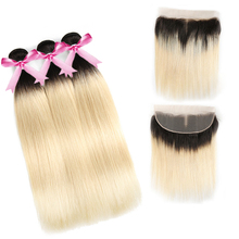 Blonde Ombre 1b 613 Lace Frontal Braziliaanse Virgin Human Hair Extensions 613 # Ombre Drie Bundels met Sluiting Frontale 13*4 kant