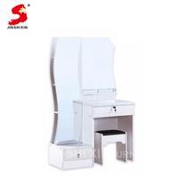 Factory direct sale pvc surface mdf wood modern white dressing table