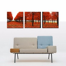 3 Panels Red Trees Forest Landscape Wall Art Modern Pictures Print On Canvas Paintings For Home Bar Hub Hotel Restaurant