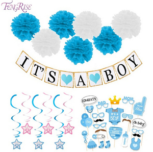 Paper Baby Shower Banner Garlands Decoration Its A Boy Girl Bunting Party Favors Supplies