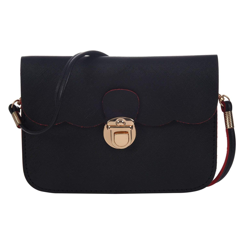 SODIAL(R) Tote Hobo Messenger Shoulder Leather Purse Clutch Of Women (black bag)