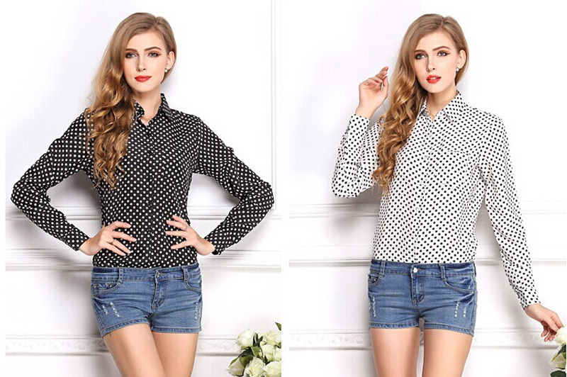 2015 Chic Womens Casual Over size Long Sleeve V-Neck Blouse Loose Chiffon Top Shirts