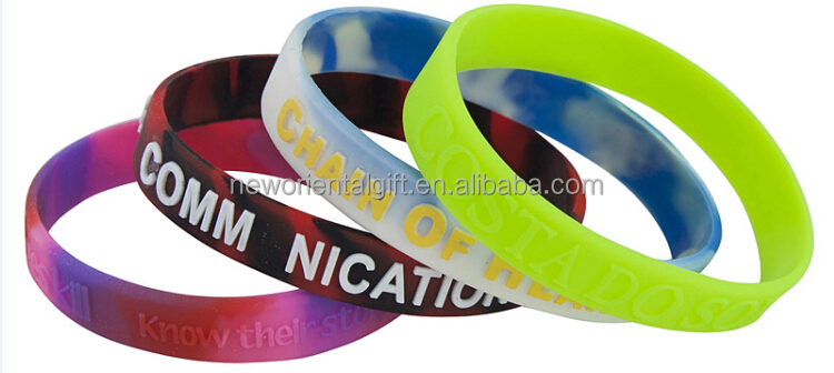 Embossed Color Printing Silicone Wristbands/Silicone Wristbands for Promotional Gifts
