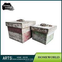 S/2 shabby chic aged European cottage retail sundries storage box