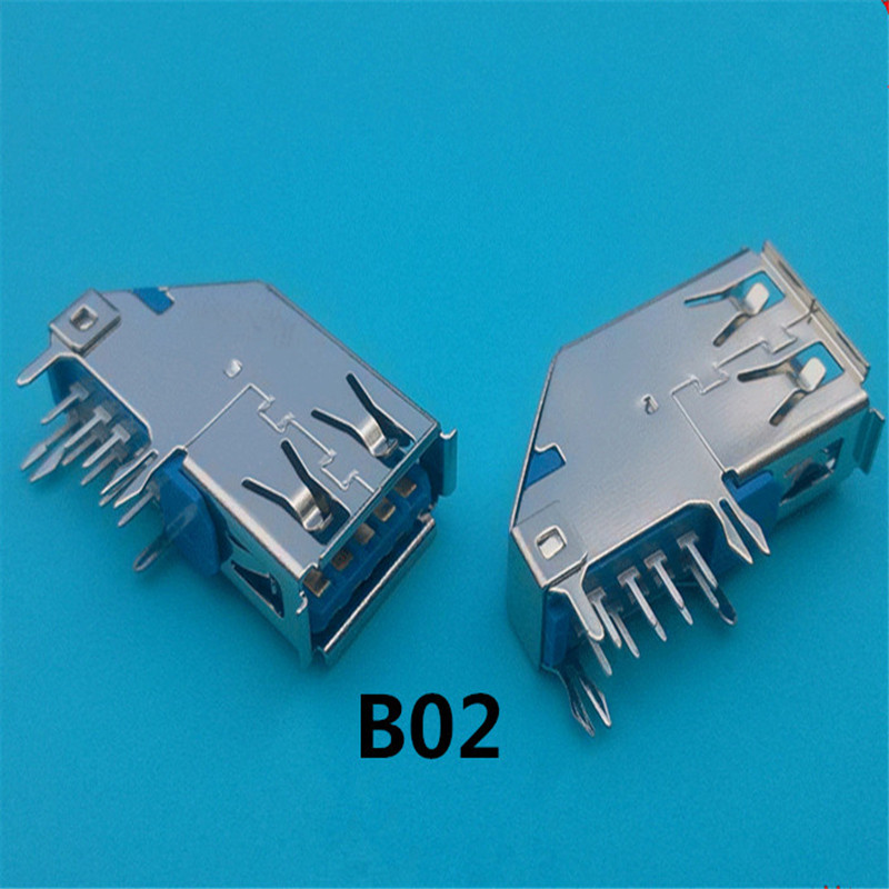 Electronic component usb connector 3.0 b type female vertiacl through hole