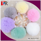 Fashion Cell Phone Charm Strap Rabbit Fur Ball Pompom Mobile Phone Accessory Jewelry