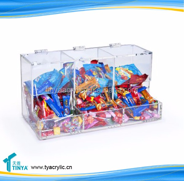 Clear Lucite Acrylic candy display container, acrylic Jar, acrylic candy bin.