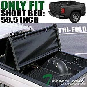 Topline Autopart Tri-Fold Soft Tonneau Cover For 05-15 Frontier Crew Cab / 09-12 Equator 5 Ft Bed