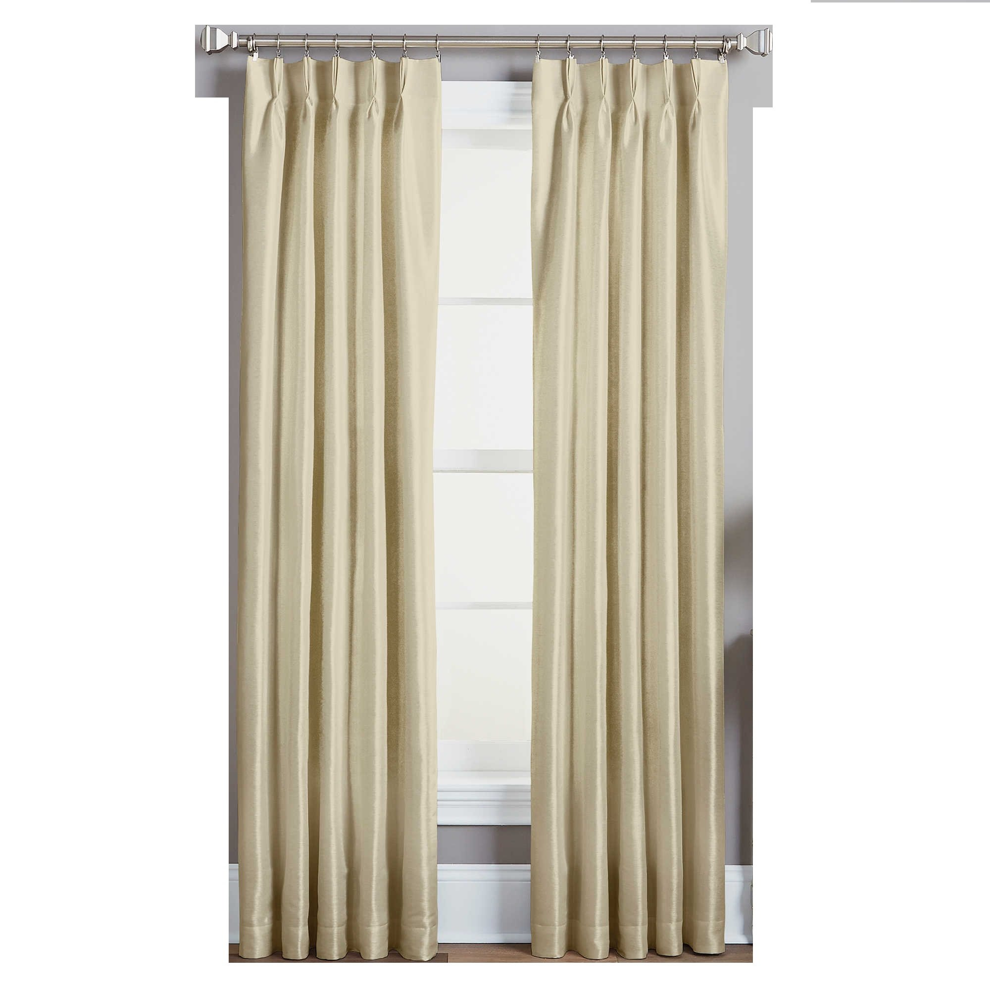 double heading finished stripe pleated pleat hand curtains pin with fabric romo pinch