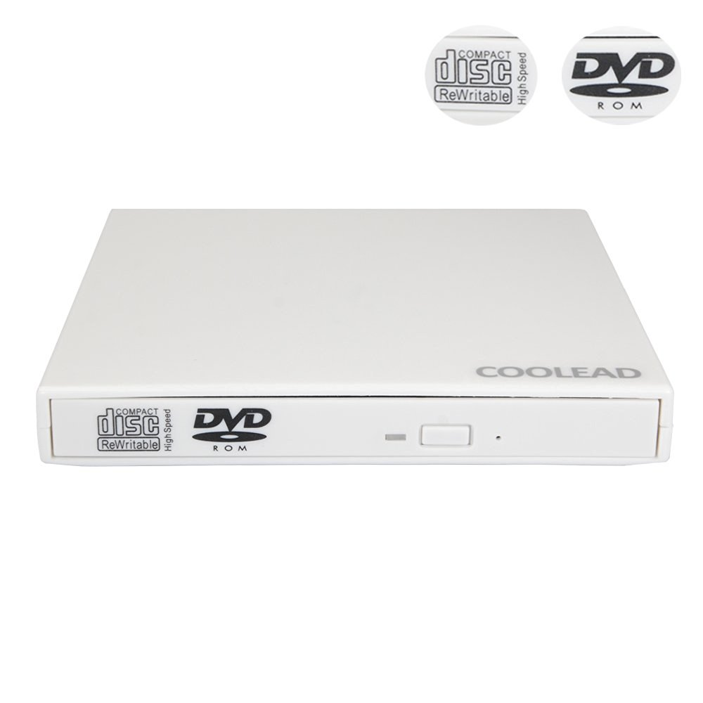 COOLEAD- High Quality White External USB 2.0 DVD-ROM and CD-RW Combo Drive for for Laptops, Desktops and Notebooks
