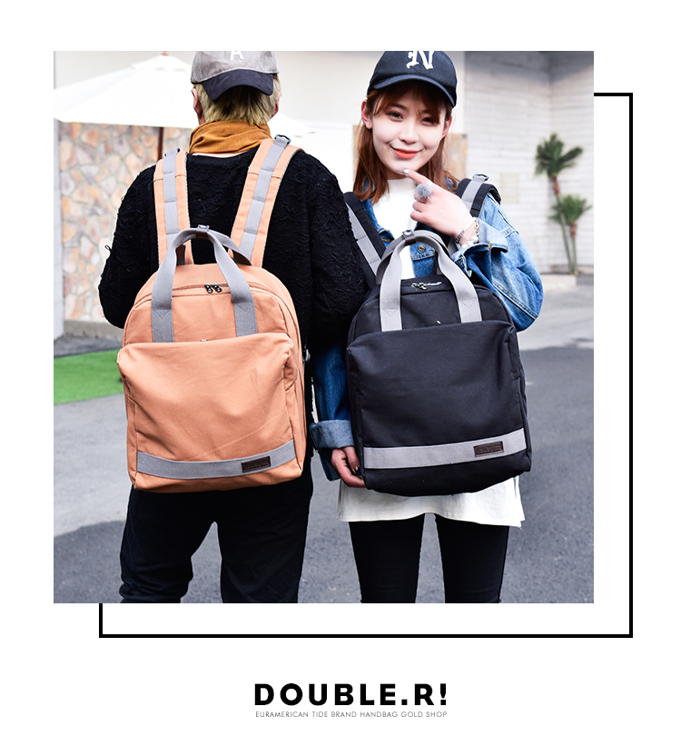 2017 new canvas double shoulder bag Sports backpack A large backpack for lovers