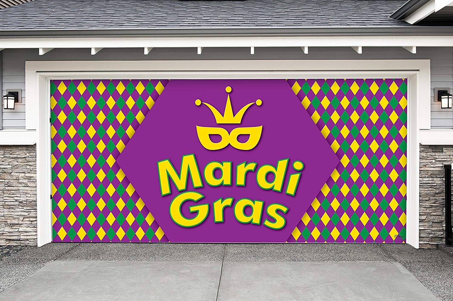 Victory Corps Outdoor Mardi Gras Decorations Garage Door Banner Cover Mural Décoration 7'x16' - Mardi Gras Diamonds - The Original Mardi Gras Supplies Holiday Garage Door Banner Decor
