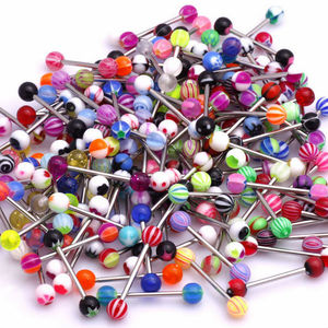 Colorful Stainless Steel UV Acrylic Ball Barbell Tongue Rings Bars Piercing