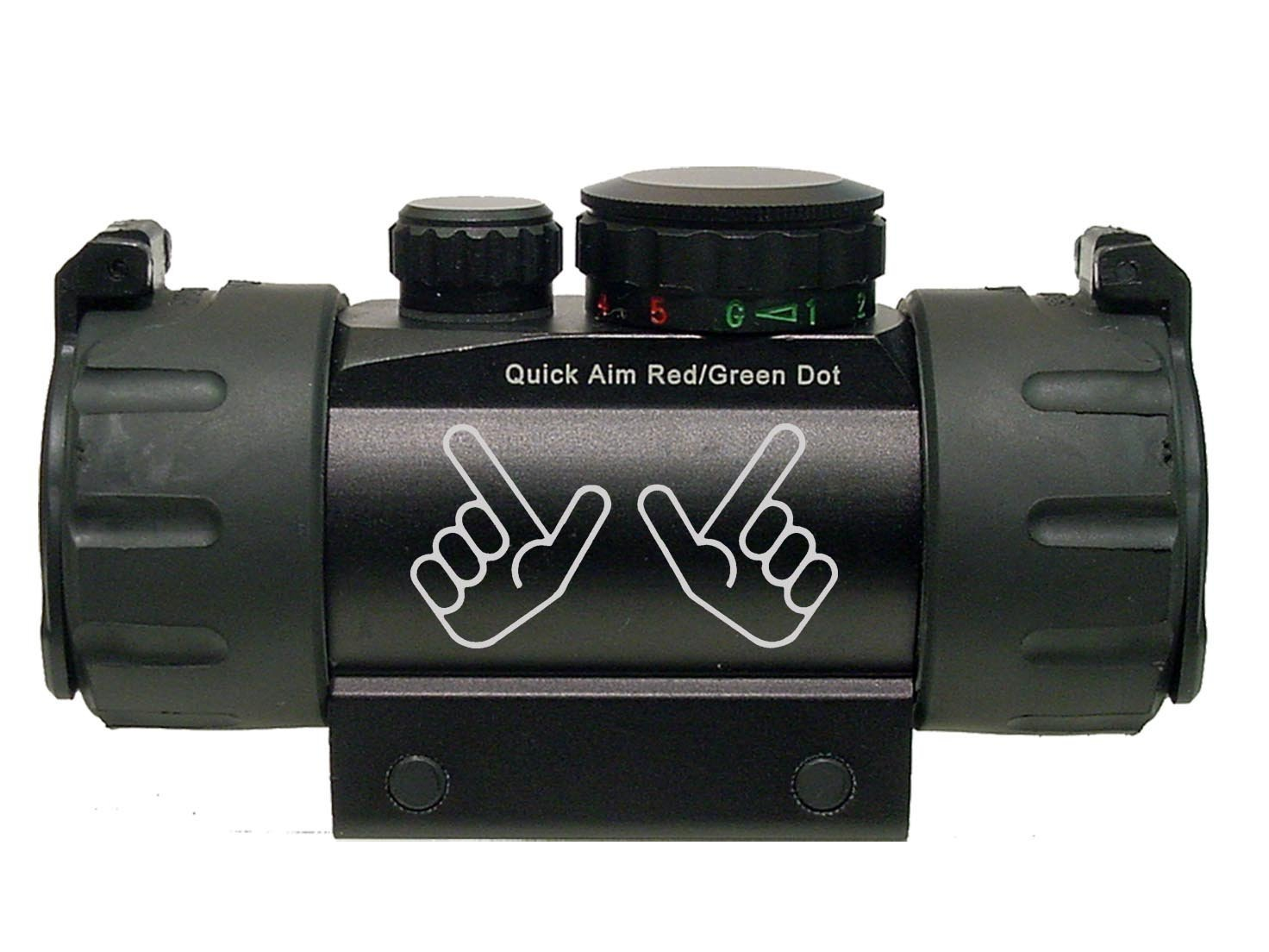 Red Raiders Guns Up Hand Symbol Texas Tech Engraved Leapers UTG Red or Green DOT CQB Tactical sight by NDZ Performance