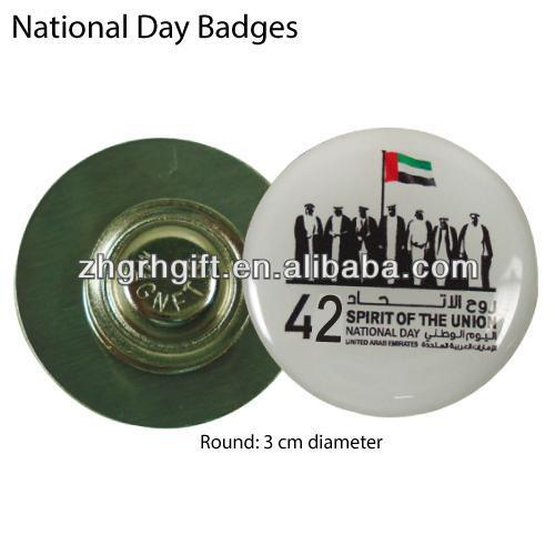 cheap promotional round metal Uae magnet pins