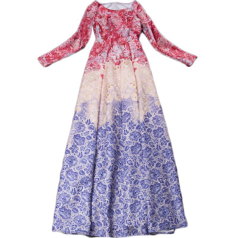 Get Quotations · Spring Women Casual Plus Size Brand Long Dress Vestido High  Quality Ladies Party Dress Fashion Print c6484c0ce535