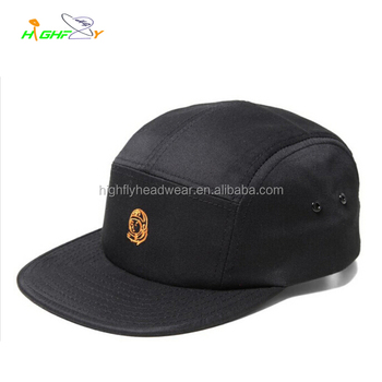 074a94df1c3 custom top quality black cotton twill plain flat five panel blank camper cap  with metal eyelets