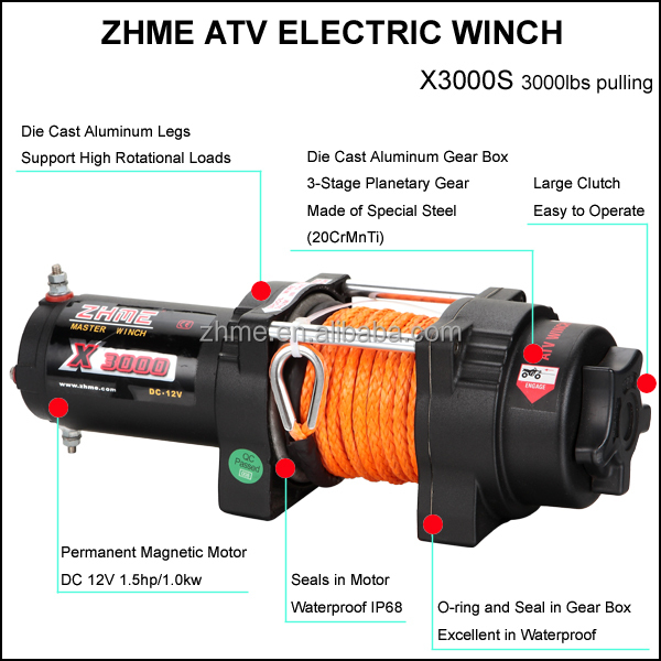 3000lbs atv winch with synthetic rope