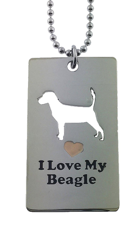 Beagle Dog Tag I Love My Beagle Pet American Kennel Club Charm Puppy Love Paw