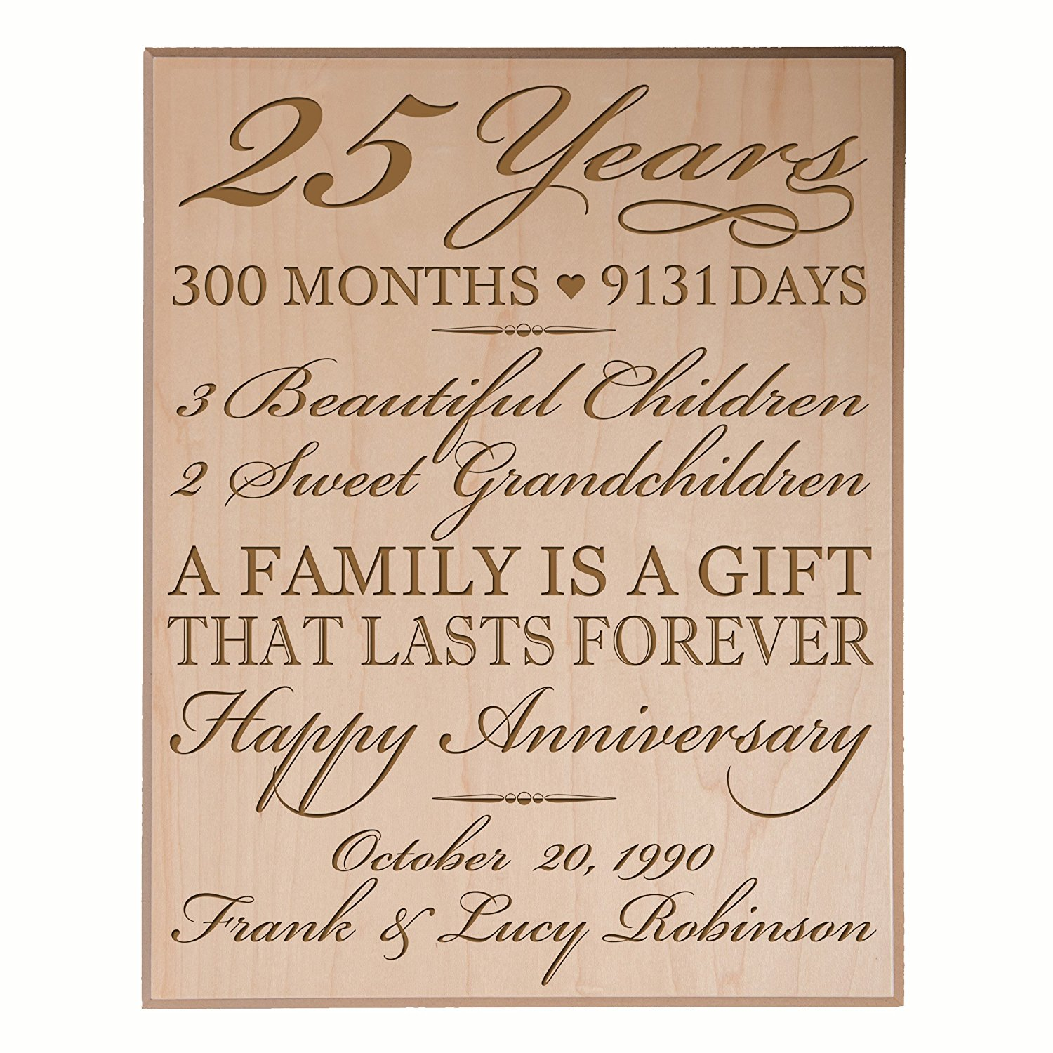 """Personalized 25th Anniversary Gifts for him her Couple parents,Custom Made 25 year Anniversary Gifts ideas Wall Plaque 12"""" x 15"""" By Dayspring Milestones (Maple veneer)"""