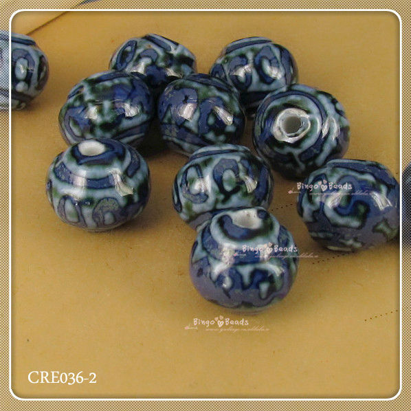 White And Blue Porcelain Beads Ceramic Beads Supplier