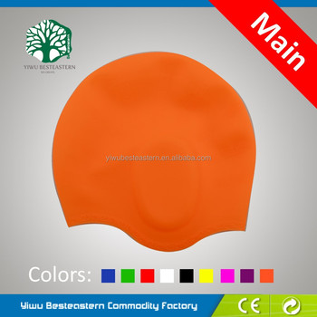 2015 OEM printing adult waterproof silicone swim cap