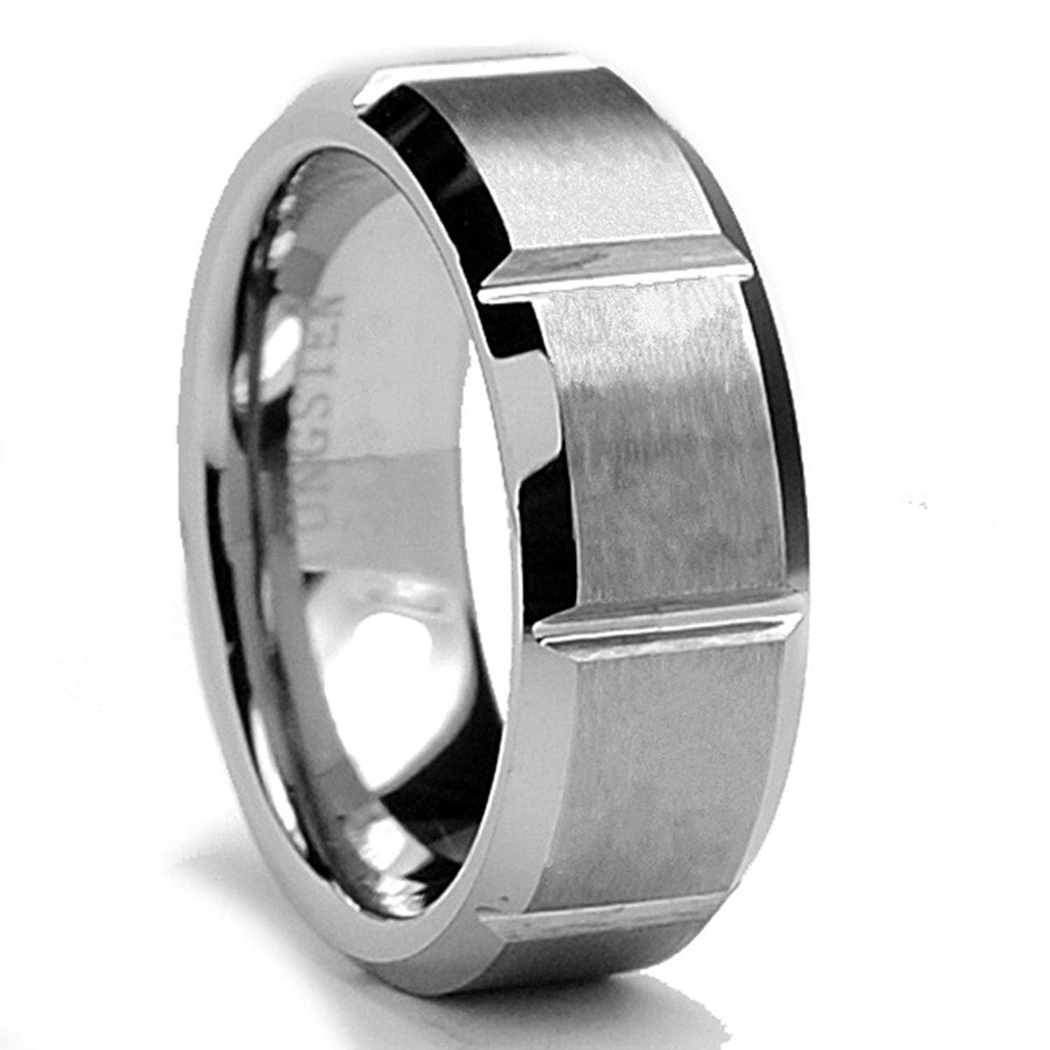 b0dfaff065a King Will Mens 8mm Tungsten Carbide Ring Multiple Vertical Grooves Matte  Finish Wedding Band