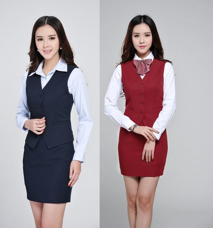 Formal diseño de uniforme de oficina mujer trajes chaleco