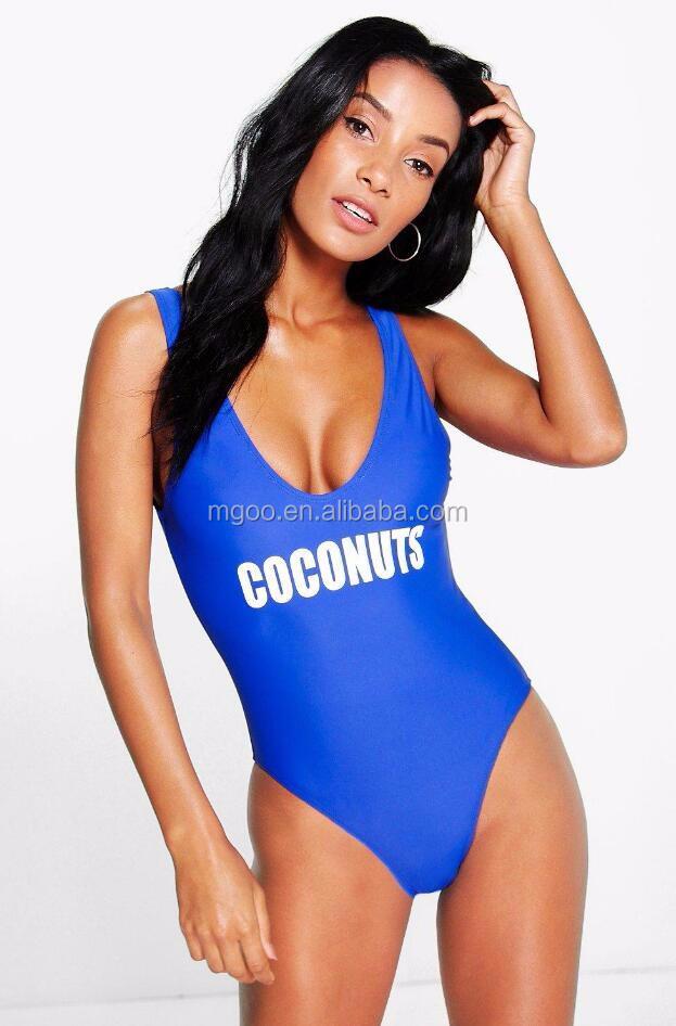 6d1b1b8472fe8 Custom Logo Print Women One Piece Swimsuit Plain Basic Design Bathing Suit  Slogan Swimsuit With Private