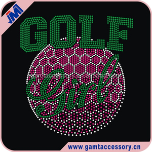 Rhinestones Product Type and Flatback Style Wholesale golf girl iron on Rhinestone Heat