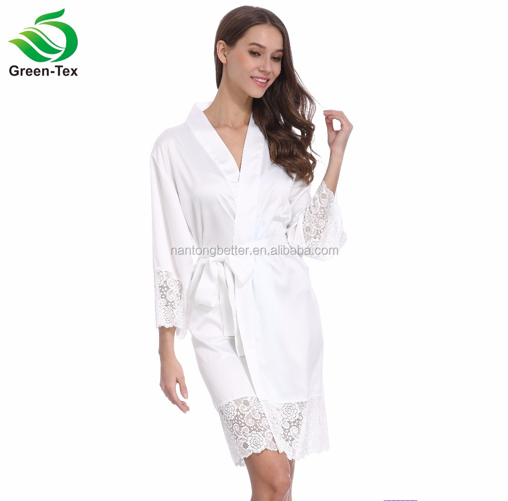 White Women Silky satin Shiny Kimono Bride Robe With Lace Trim