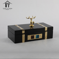 Wholesale decorated wood amenities box souvenir vintage luxury black wooden gift perfume box
