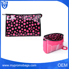 New Design Cute Polka Dot Digital Printing Toiletry Bag pvc cosmetic bag for travel