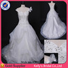 Classic Wedding Dresses Heavily Beaded Lace Bodice Asymmetric Organza Bridal Gown