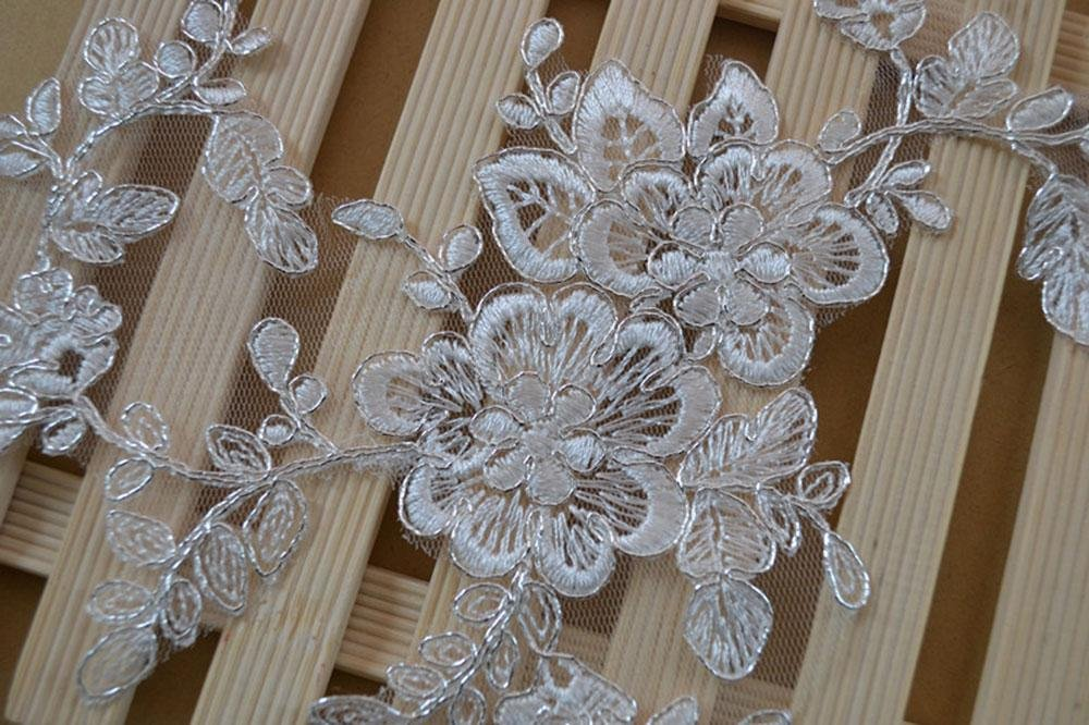 Wedding white floral lace trim embroidered trim indian fabric