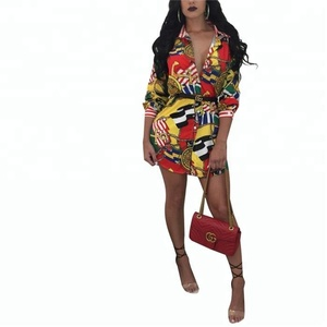 Woman Fancy Printed Long Sleeve Casual Maxi Shirt Dress With Belt