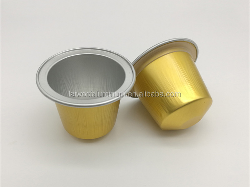High quality nespresso aluminum foil empty coffee capsule with Sticker aluminum foil container