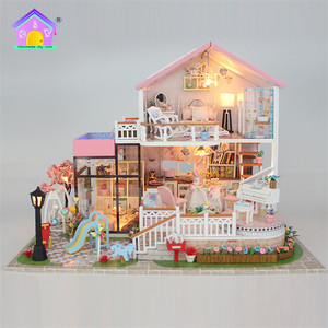 Supply to separtmental store creative diy 3d house toy wooden child toy wooden house
