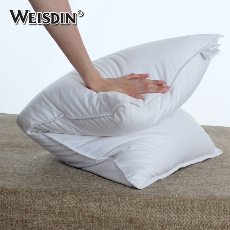 Cheap Wholesale Textiles 100% Cotton Fabric Pillows Duck Down Feather Filling Hotel Sleeping Pillow