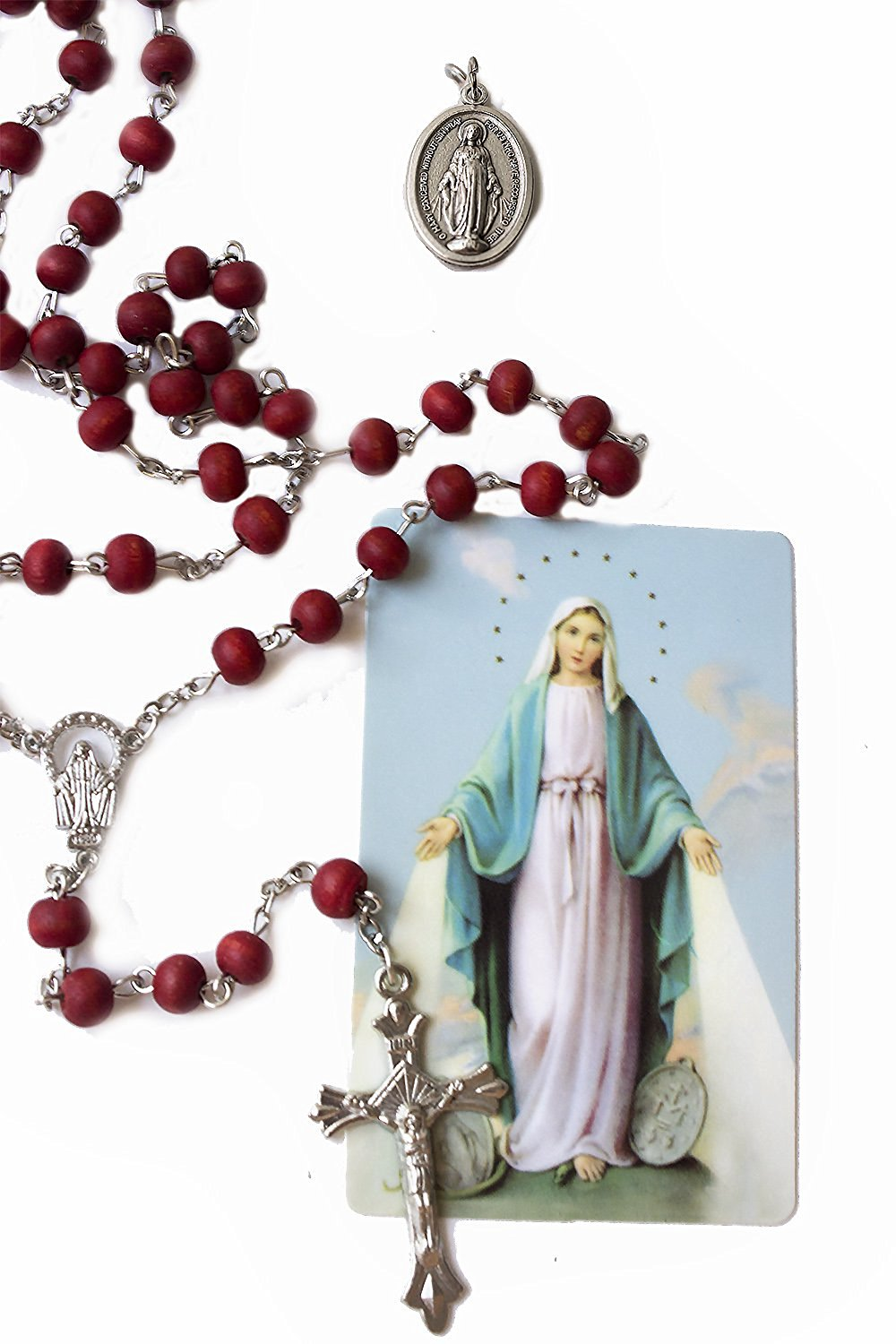 Rose Scented Carved Rose Petal Catholic Rosary Gift set (Miraculous medal and holy card with prayer)