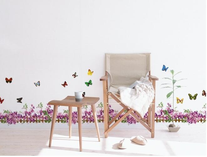 Warm Romantic DIY Removable Wallpaper Small Size Purple Flowers Skirting Line Wall Stickers Wall Decal Home Decor AM5006